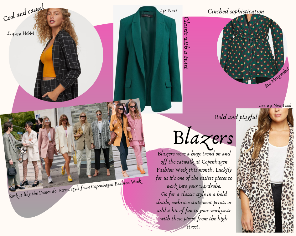 A photo collage of blazers, some worn by models, against a pink and white background.