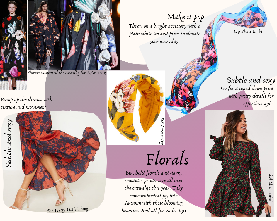 A photo collage of floral accessories and dresses, some worn by models, against a pink and white background.