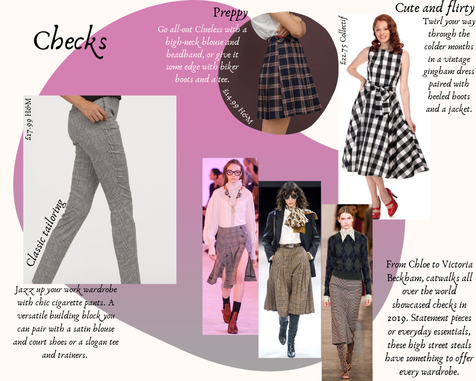 A photo collage of checked and gingham garments, some worn by models, against a pink and white background.
