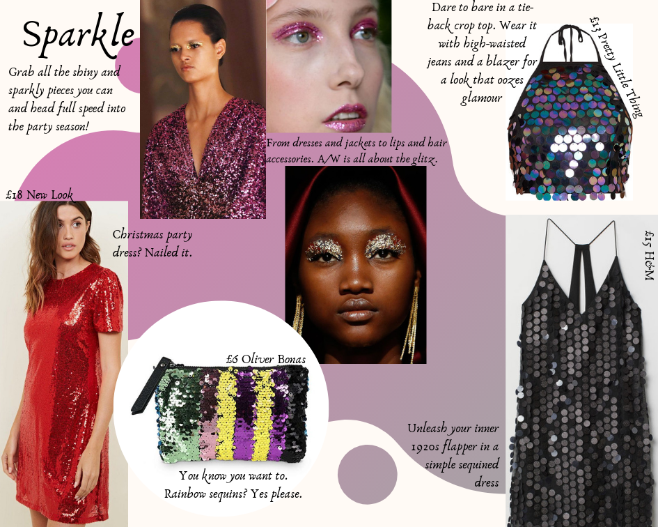 A photo collage of sequined and glittery garments, accessories and make up looks against a pink and white background. and gingham garments, some worn by models, against a pink and white background.